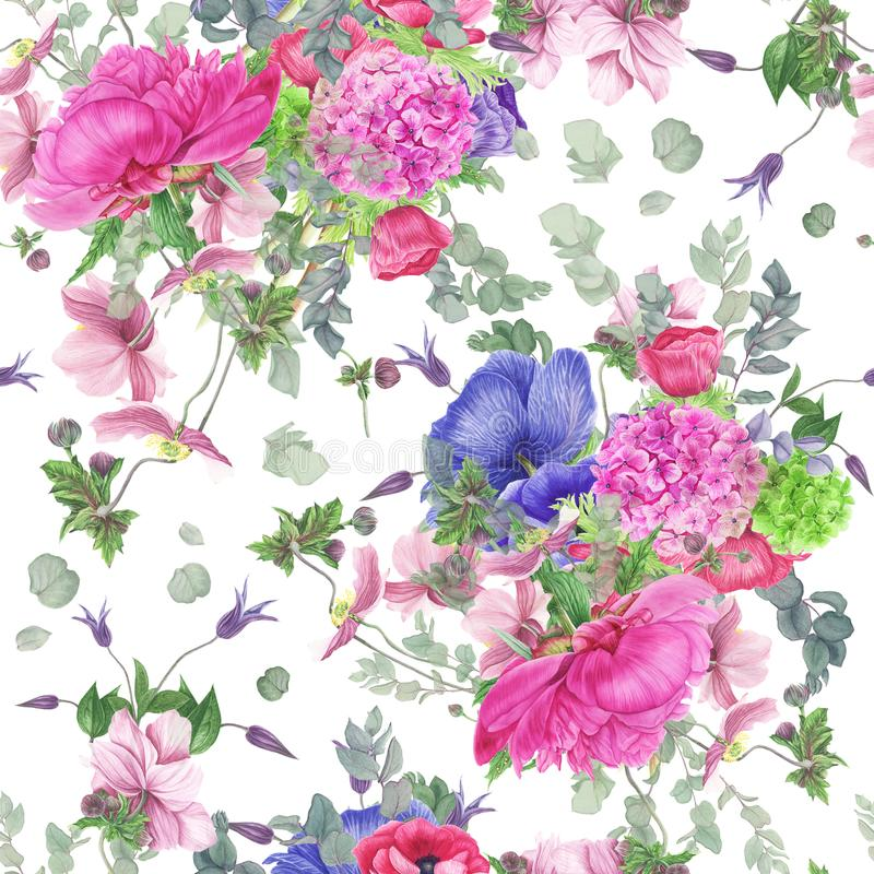 Seamless floral pattern with peony, anemones, hydrangea, eucalyptus and leaves, watercolor painting. stock illustration