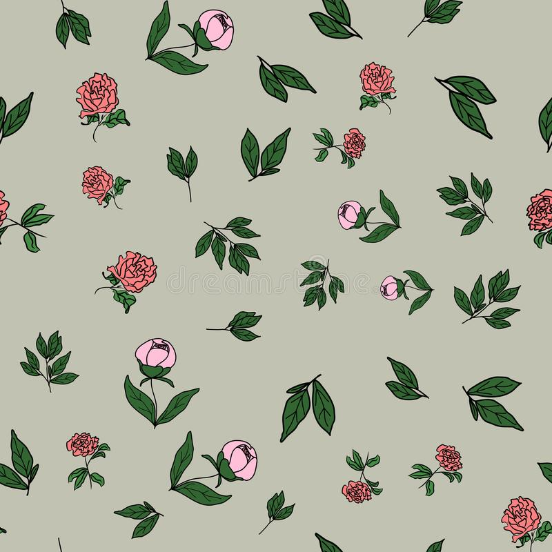 Seamless floral pattern, peony flowers and leafs on a gray background, vector stock illustration