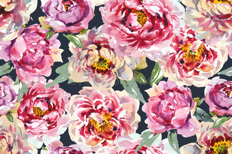 Seamless floral pattern with pink chinese peony stock illustration