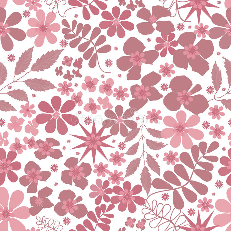 Seamless floral pattern. With pink decorative elements stock illustration