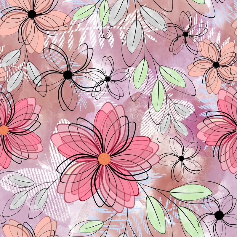 Seamless floral pattern. Pink flowers, gray green leaves on a light background. vector illustration