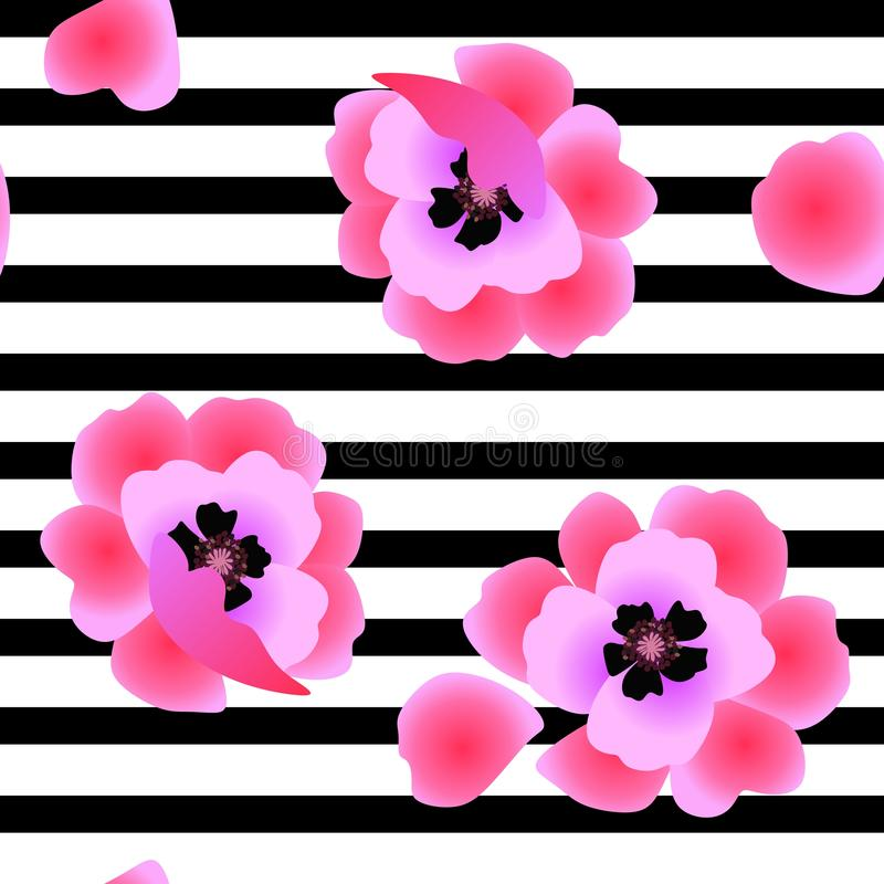 Seamless floral pattern with pink poppy flowers on black and white striped background. Print for fabric stock illustration