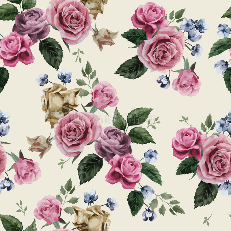 Seamless floral pattern with pink roses on light background, watercolor royalty free illustration
