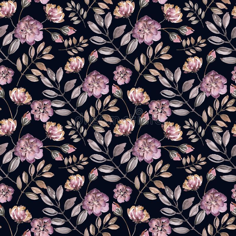 Seamless floral pattern. Pink watercolor flowers, leaves on a black background. royalty free illustration