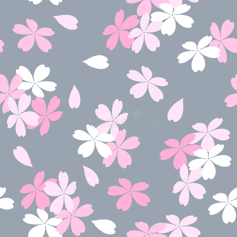 Seamless floral pattern with pink and white Sakura flowers on a gray background. stock illustration