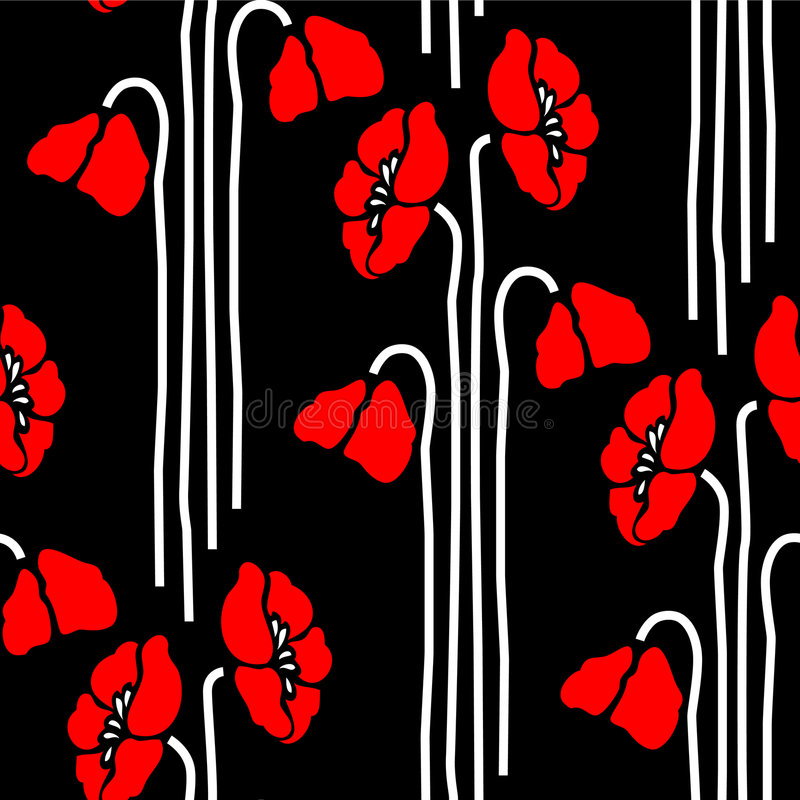 Seamless floral pattern with poppies royalty free illustration