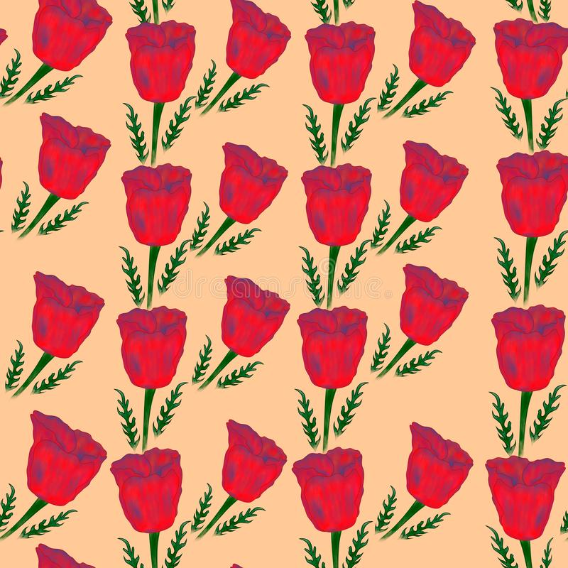 Seamless floral pattern of poppies on the beige background with leaves. stock image