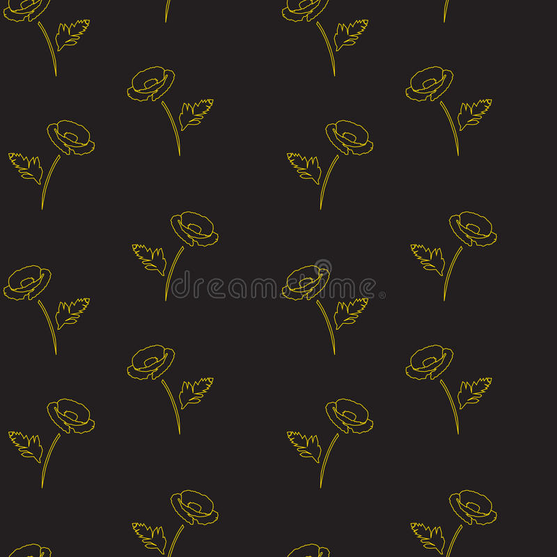 Seamless floral pattern with poppies. gold on black background. Vector illustration royalty free illustration