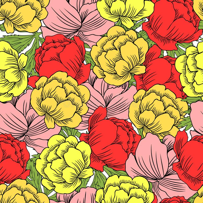 Seamless floral pattern Ranunculus, Trollius asiaticus flower, Globeflower hand drawn vector sketch isolated on white stock illustration