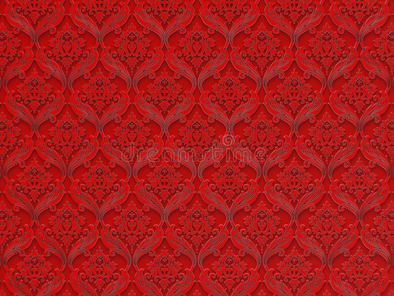 Seamless floral pattern on a red background royalty free illustration