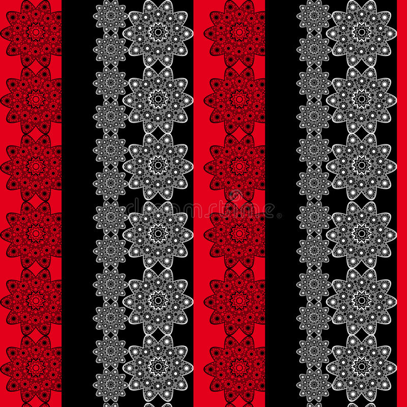 Seamless floral pattern. Seamless floral red black pattern stock illustration