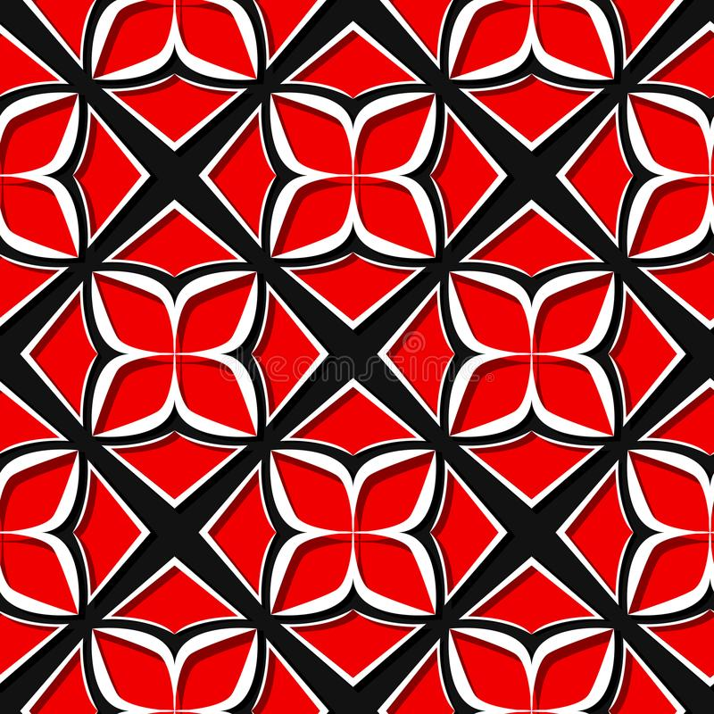 Seamless floral pattern. Red and black 3d designs vector illustration