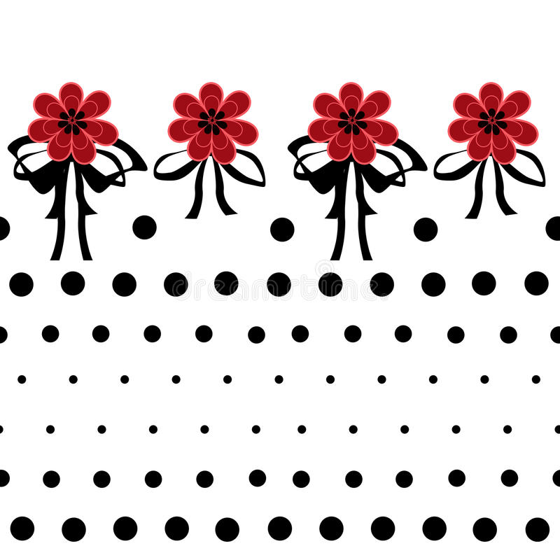 Seamless floral pattern with red flowers on white background dot royalty free illustration