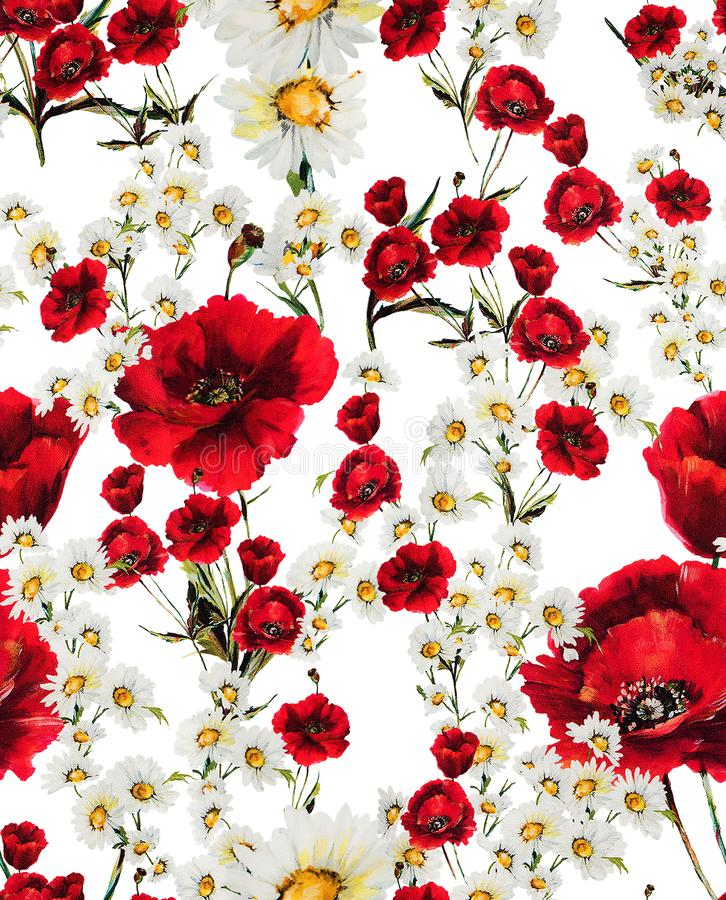 Seamless floral pattern with of red flowers and white daisy on white background. Ready for textile prints.  stock illustration