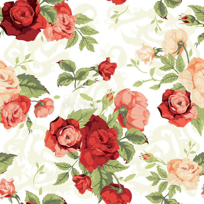 Seamless floral pattern with red and orange roses on white background. Vector illustration vector illustration