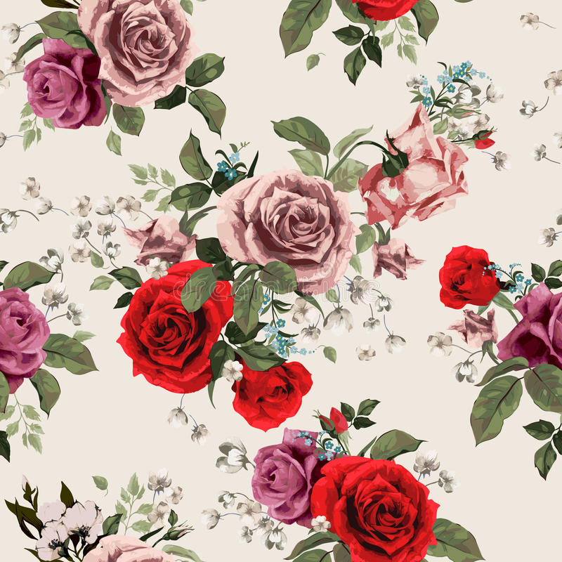 Seamless floral pattern with red and pink roses on light background, watercolor stock illustration