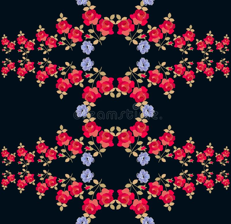 Seamless floral pattern with red roses and blue poppy flowers on black background. Print for fabric.  stock illustration