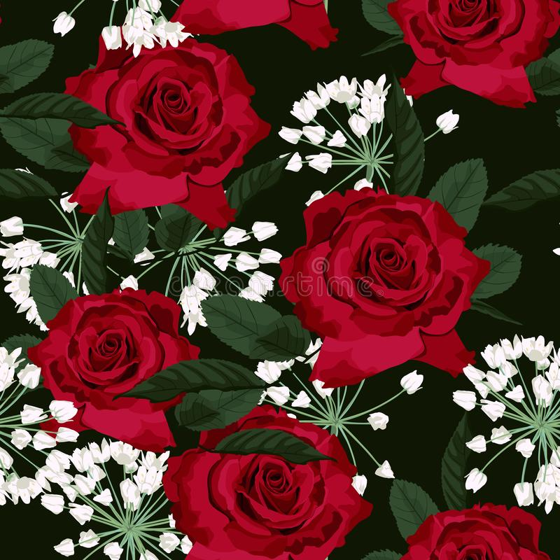 Seamless floral pattern with red roses and white herbs on black background. stock illustration