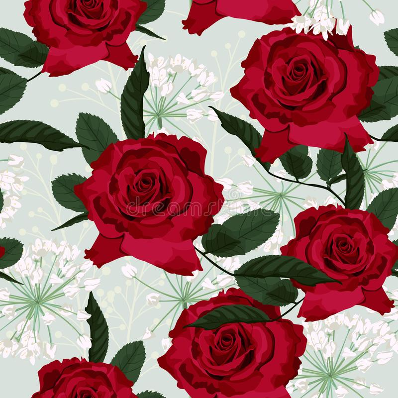 Seamless floral pattern with red roses and white herbs on light mint background. Vector illustration vector illustration