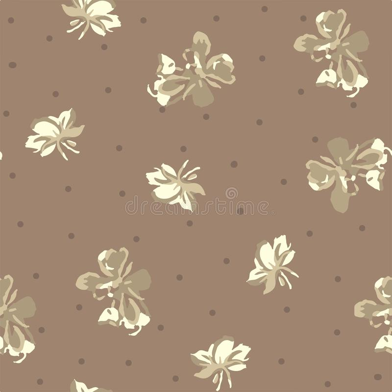 Seamless floral pattern in repeat in beige and cream color stock illustration