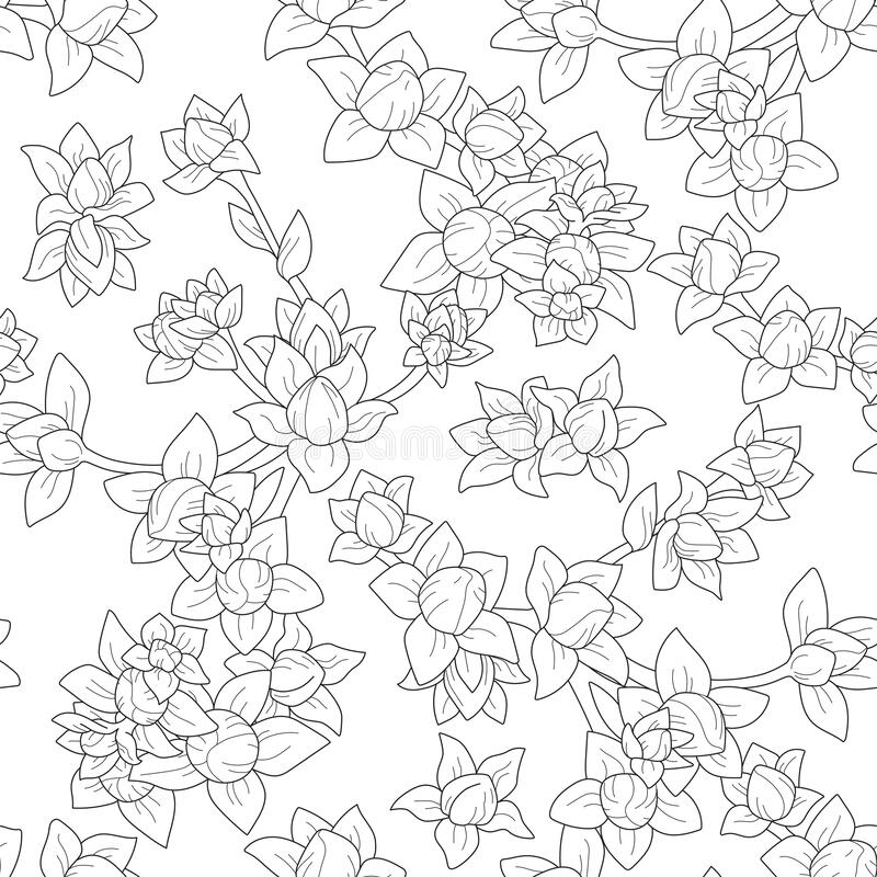 Vector seamless black outline repeat floral pattern stock photos