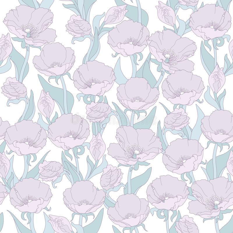 Vector seamless floral pattern with pink poppies stock photography