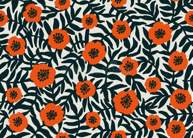 Seamless Floral Pattern. retro style Red poppies pattern with poppy flowers and dark green foliage on beige. Floral royalty free illustration