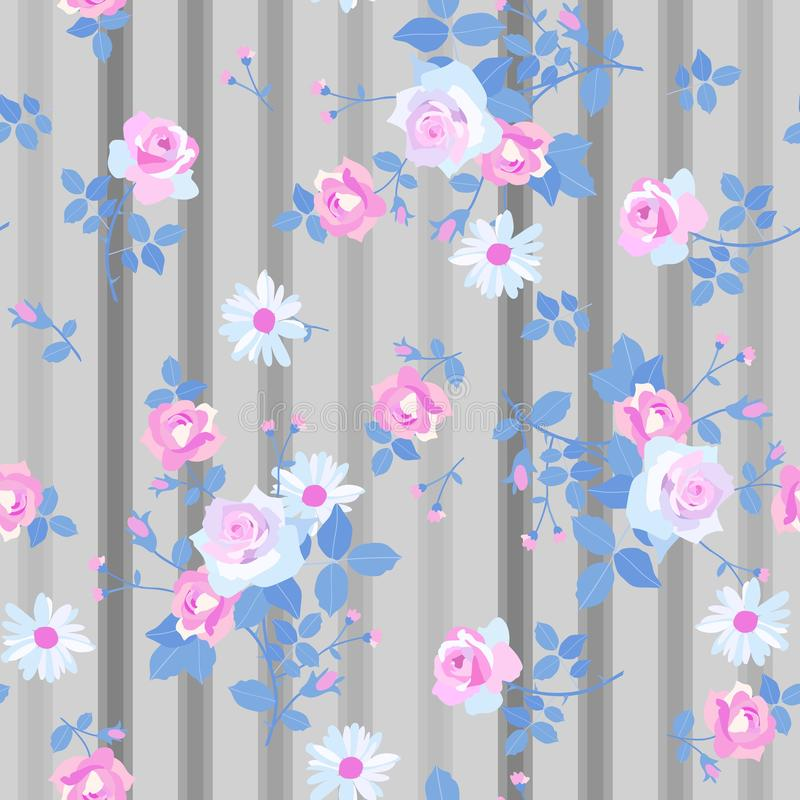 Seamless floral pattern with romantic bunches of rose and daisy flowers on striped grey background. Print for fabric stock illustration
