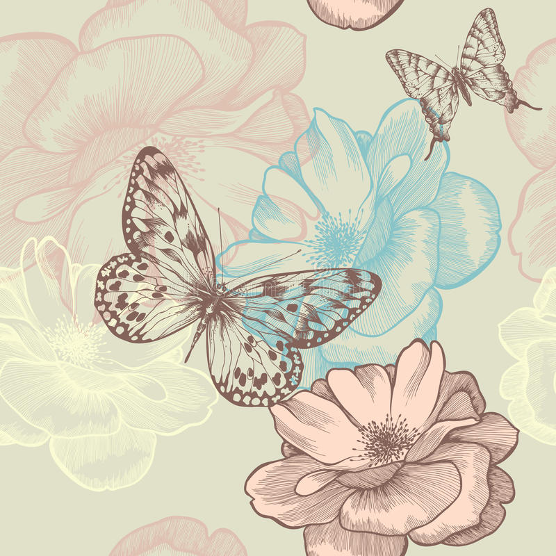 Seamless floral pattern with roses and butterflies vector illustration