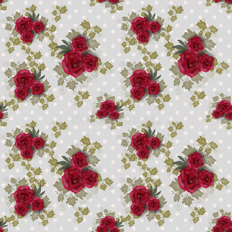 Seamless floral pattern with roses. On grey background royalty free illustration