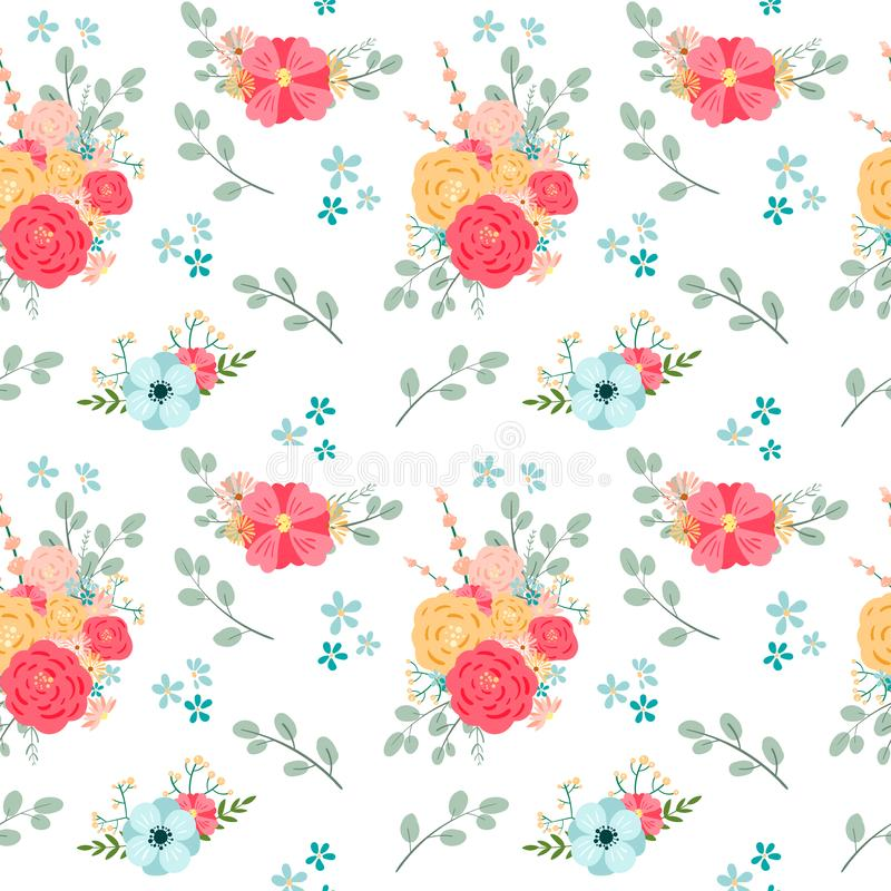 Seamless Floral Pattern with roses. Vector illustration vector illustration