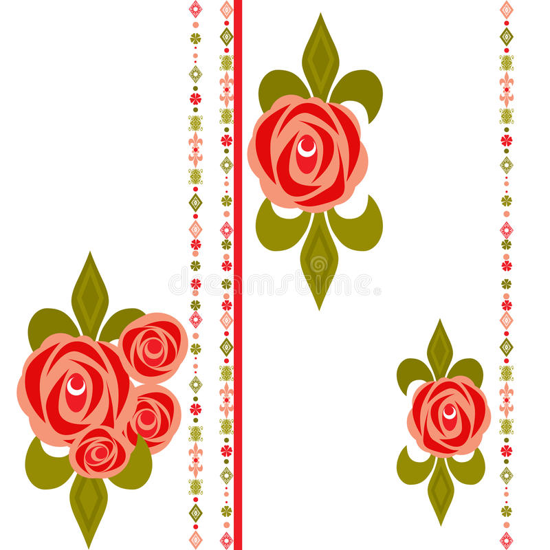 Download Seamless Floral Pattern With Roses On White Stock Illustration - Image: 37204185