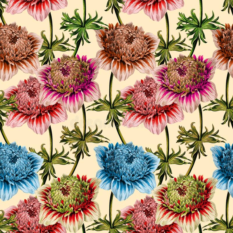Seamless floral pattern scarf art abstract design textile. seamless beautiful artistic bright tropical pattern with exotic fore. Flowers pattern.Silk scarf stock illustration