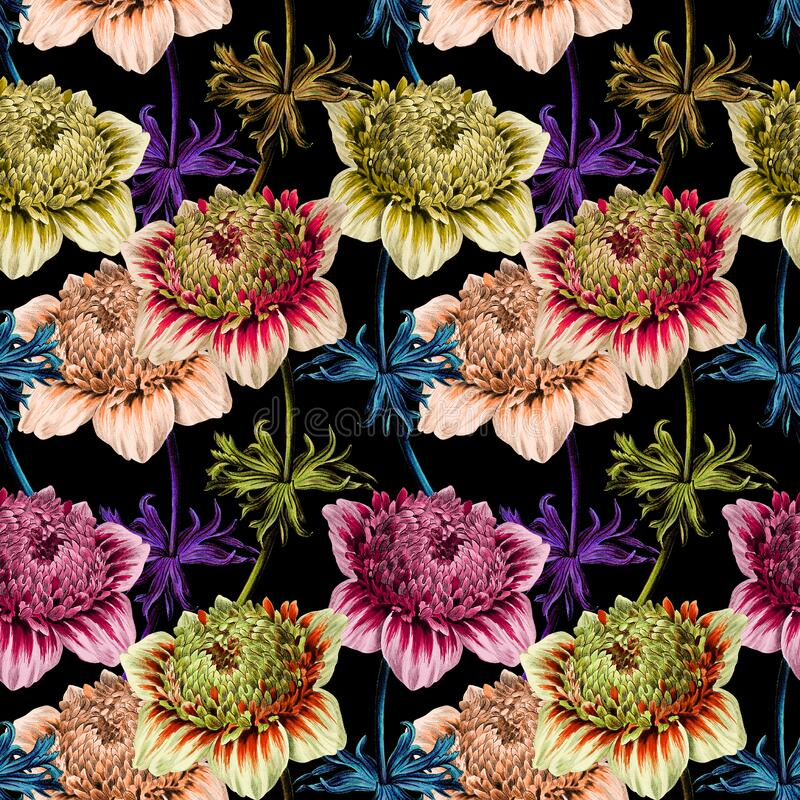 Seamless floral pattern scarf art abstract design textile. seamless beautiful artistic bright tropical pattern with exotic fore. Flowers pattern.Silk scarf vector illustration