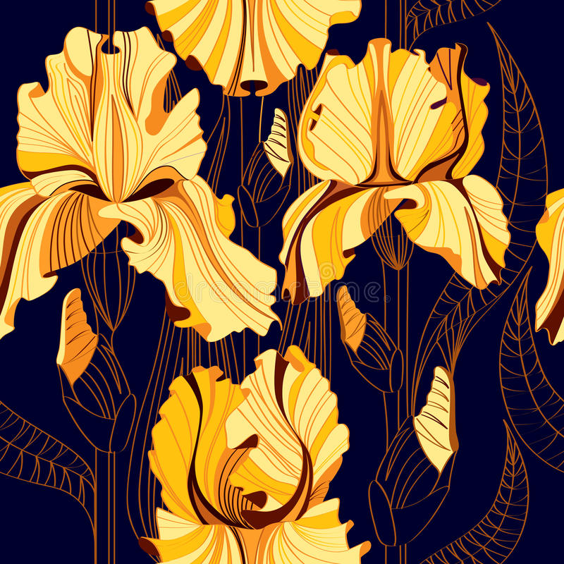 Seamless floral pattern with spring flowers. Vector background with yellow irises. vector illustration