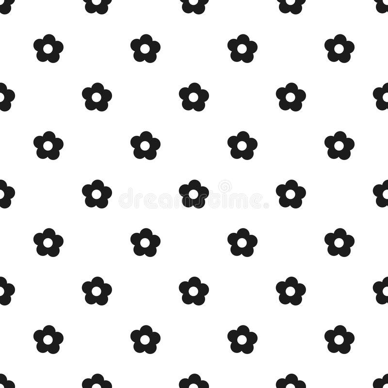 Seamless floral pattern spring summer abstract vector design decoration white background with black flowers black and white royalty free illustration