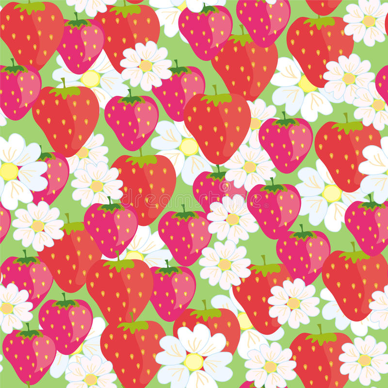 Download Seamless Floral  Pattern With Strawberries Royalty Free Stock Images - Image: 13982849