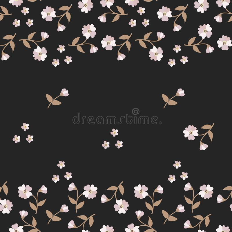 Seamless floral pattern with tender mini flowers and buds isolated on black background vector illustration