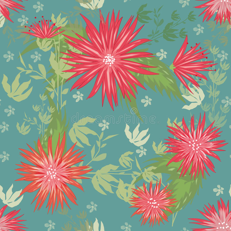 Seamless floral pattern. On turquoise background royalty free illustration