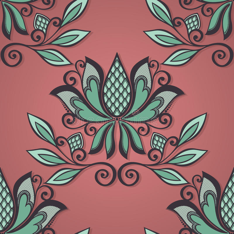 Seamless Floral Pattern (Vector). Hand Drawn Texture with Flowers royalty free illustration