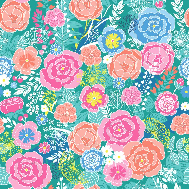 Seamless floral Pattern with colored flowers vector illustration