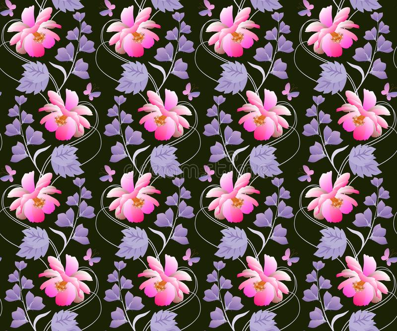 Seamless floral pattern in vector. Pink cosmos and lilac bell flowers on black background. Vertical garlands with purple leaves royalty free illustration