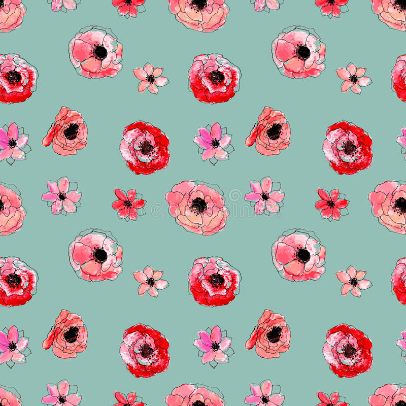 Seamless floral pattern. Vector watercolor hand drawn illustration vector illustration