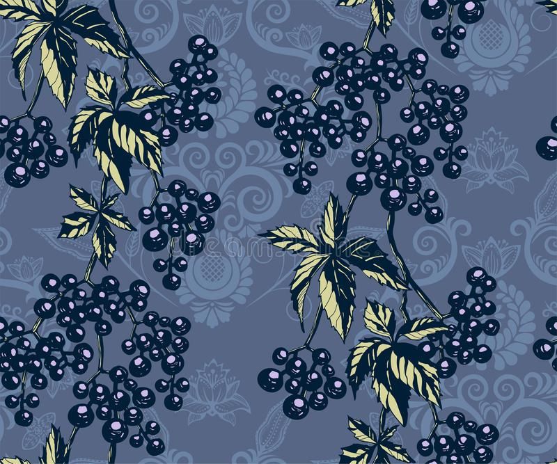Seamless floral pattern with vine grapes and ornamental hand drawing decorative background. Ethnic seamless pattern ornament. Vect vector illustration