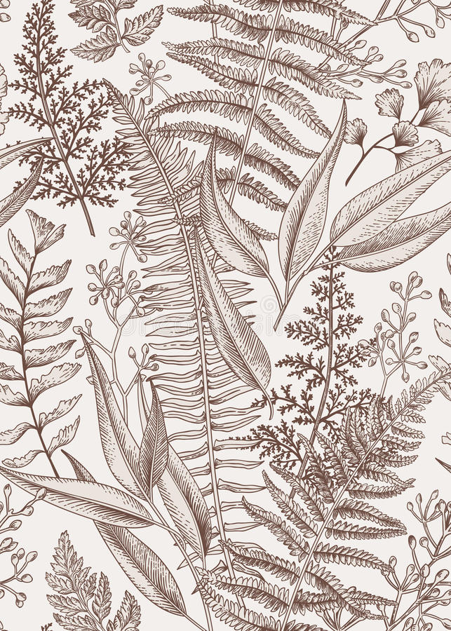 Seamless floral pattern in vintage style. vector illustration