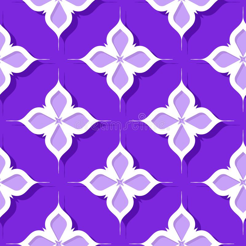 Seamless floral pattern. Violet and lilac 3d designs vector illustration