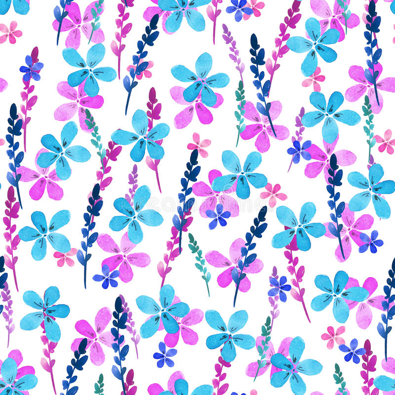 Seamless floral pattern with watercolor blue pink flowers and leaves in vintage style on white background. . Hand made royalty free illustration
