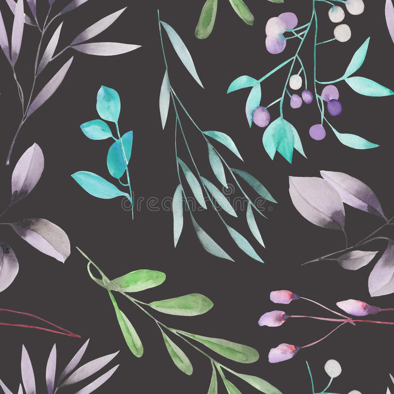 Seamless floral pattern with the watercolor green leaves on the branches and purple berries (Mistletoe) vector illustration