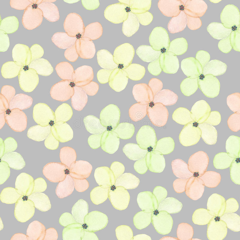 A seamless floral pattern with watercolor hand-drawn tender pink, yellow and green spring flowers vector illustration