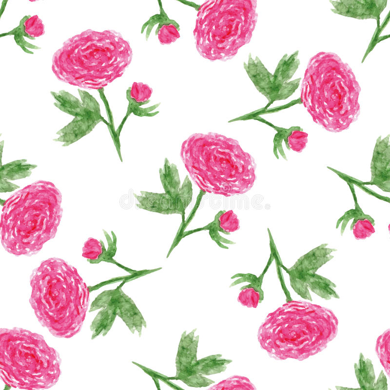 Seamless Floral Pattern With Of Watercolor Peony . Vector